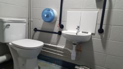 Disabled toilet installation in commercial building