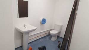 Commercial bathroom installation